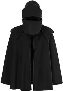 Men's Mask Wind Coat Retro Cloak Hooded Loose Bat Sleeves Stitching Cape Jacket Beautyfine