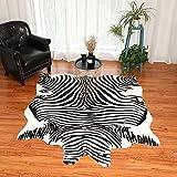 Alfombra grande de piel sintética con diseño de cebra de animales, 2,1 m x 1,6 m, alfombra de piel de animales para dormitorio, sala de estar, blanco y negro