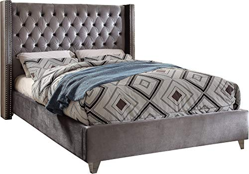 Meridian Furniture AidenGrey-K Aiden Collection Modern | Contemporary Velvet Upholstered Bed with Deep Button Tufting, Solid Wood Frame, and Custom Chrome Legs, King, Grey