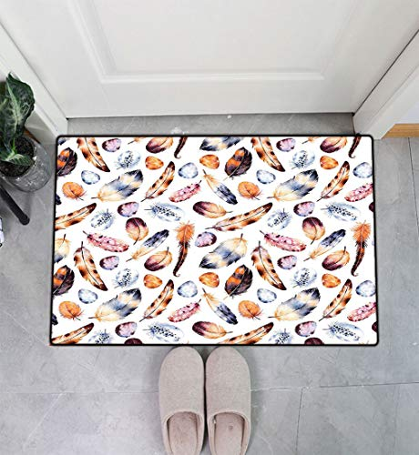 Feather House Decor Entry Way Doormat, Hawk Peacock Tail Eagle Hummingbird Feathers in Vintage Image Entrance Door Mat Floor Cover Easy Clean, 31' x 47' Orange Blue