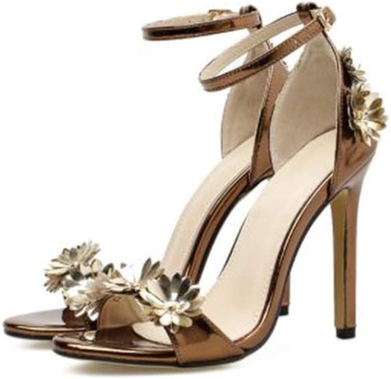 FLourishing Women Sexy Metallic Ankle Strap Pointy Open Toe Party Stiletto High Heel Sandals with Handmade Flower