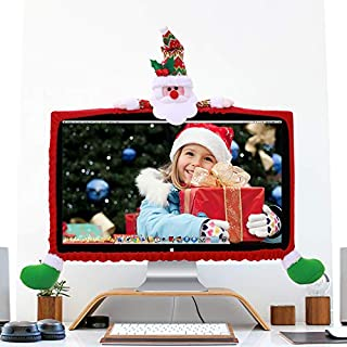 Mehome Computer Monitor Cover Elastic Computer Case Christmas Cartoon Decorations for Home Office Photography Christmas New Year Gift (Santa Claus)