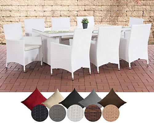 CLP Polyrattan-Sitzgruppe Avignon Big | Garten-Set mit 8 Sitzplätzen | Komplett-Set bestehend aus: 1x Tisch und 8 Gartenstühlen und Sitzkissen, Farbe:weiß, Polsterfarbe:Polsterfarbe Cremeweiß