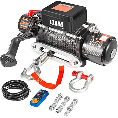 VEVOR Electric Winch 13000lb Load Capacity Truck Winch Compatible with Jeep Truck SUV 65ft/20m Synthetic Rope 12V Power Winch with Wireless Remote Control, Powerful Motor for ATV UTV Off Road Trailer
