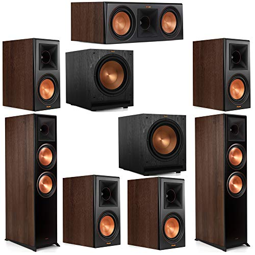 Find Discount Klipsch 7.2 Walnut System 2 RP-8000F Floorstanding Speakers, 1 Klipsch RP-600C Center ...