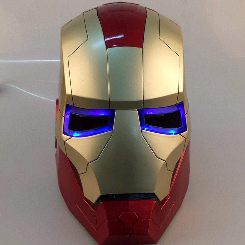 LXY azione cifras Iron uomo Helmet modello Eye Illuminating Mask To Open Avengers giocattolo Decorazione per La Casa Adatto per Htuttioween Party-22cm A