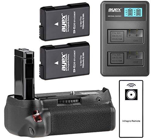 ayex Batteriegriff für Nikon D5500 und D5600 mit IR-Fernauslöser (ähnlich wie MB-D5500) + 2X ayex EN-EL14 Akku + USB Dual-Ladegerät - Aktions-Paket zum Vorteilspreis, 100% kompatibel
