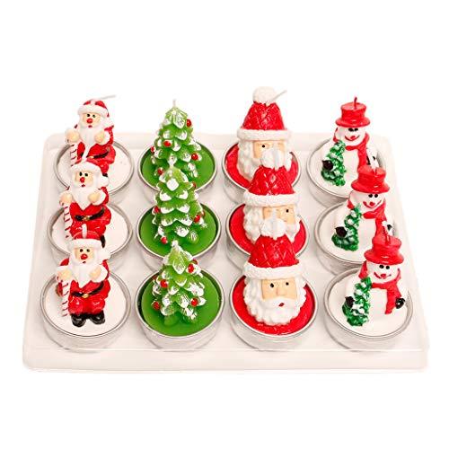 Yunso - 12 velas de Papá Noel, muñeco de nieve, diseño de árbol