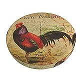 FASHLOVE Vintage Rooster Bar Stool Cushion Covers,Anti-Slip Padded Round Chiar Cushion 12-14in Velvet Beige 2 Pack