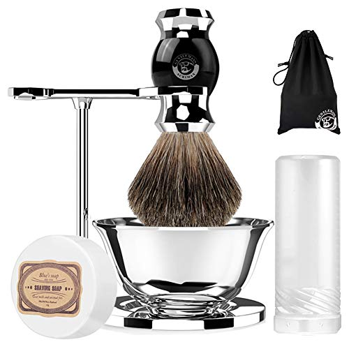 ACRIMAX Badger Shaving Brush Set with Shave Soap, Travel Case, Straight Shaving Stand and Soap Bowl Set Compatible with Manual Safety Razor, Gillette Razor and Other Razors