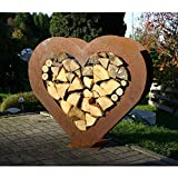 EQT-TEC *Premium* Edelrost Brennholz Holzregal Design Holz Regal Draußen Garten Deko Gartendeko