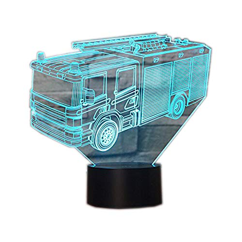 3D Illusion Lampen Feuerwehrauto 7 Farben Led Nachtlicht Touch-Schalter Schlafzimmer Schreibtisch Beleuchtung für Kinder Geschenke Haus Dekoration