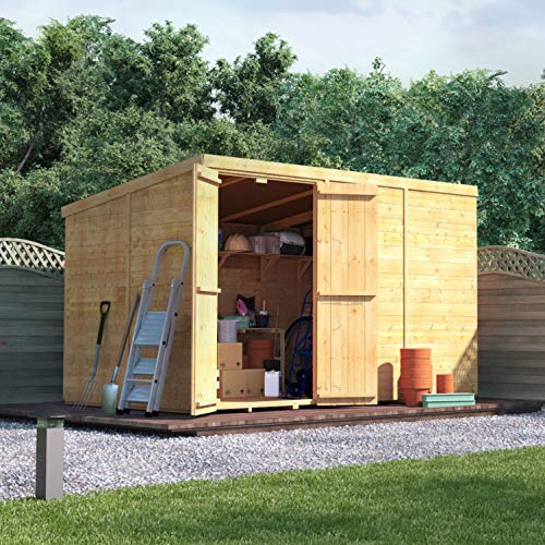 BillyOh Master Tongue & Groove Garden Shed with Floor   Windowless Wooden Shed with Pent Roof & Felt Included   Garden Storage Shed- 4 (10x6)