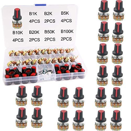 RUNCCI-YUN 20 Pcs Rotativo Potenciómetro Kit, 3 Terminales B-Tipo Estéreo Audio Potenciómetro con Perilla, para Arduino (B1K / B2K / B5K / B10K / B20K / B50K / B100K)