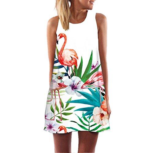 YICHUN Women Mini Dress Short Beach Dress Party Dress Sleeveless Tunic Skirts (US 14/16, Flamingo 20