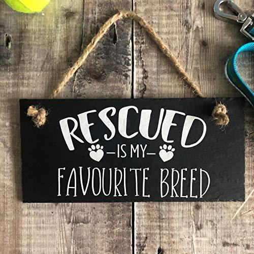 Rettungshunde-Schild Rettungs-Tiere Schild Hundeschild Rettung Hund Geschenk Rescued Is My Favourite Breed Rescue Mama Rescue Dog Decor Schiefer 30,5 x 45,7 cm