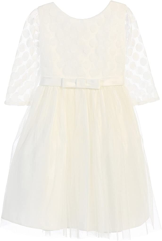 Sweet Kids Girls' Satin Dress with Polka Dot Mesh Top (2-12Y)