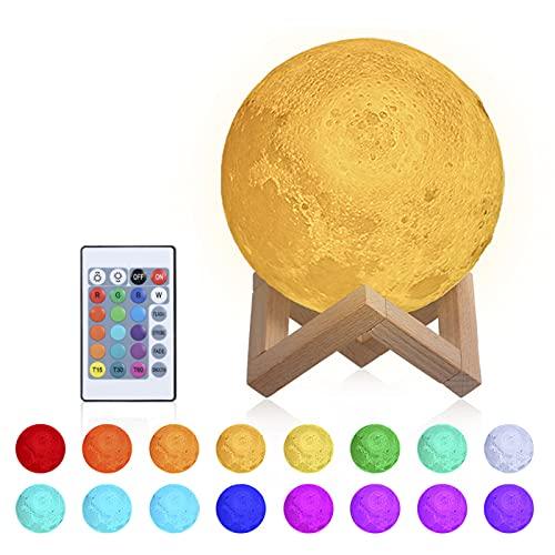 Lámpara de luna 3D,15cm Lámpara Mesilla de Noche,16 Colores y 4 Modos de Lluminación,Brillo Regulable Recargable USB,Control Remoto y Control táctil,regalo navidad para mujer