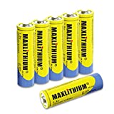 Rechargeable Lithium-ion AA Batteries, 1.5v Constant Voltage, 2.5Wh 6 Count Without Charger Maxlithium