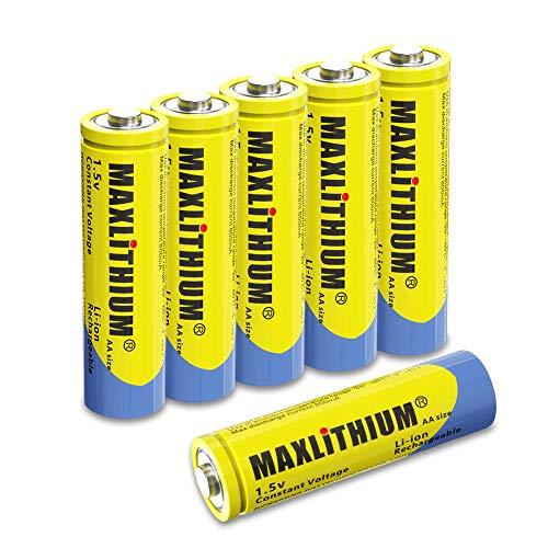 AA-Batterien Wiederaufladbares Lithium-Ionen, 1,5 V Konstantspannungsausgang Doppel-A-Batterie, 6 Z?hlung Ohne Ladeger?t, Maxlithium