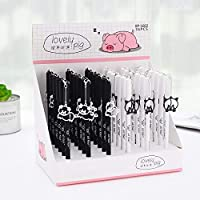 2本漫画文房具ジェルペン0.5mmブラックインククリエイティブメタルペンダントブラックホワイトピッグかわいいペン学生カワイイ学用品