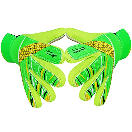Goalkeeper Goalie Soccer Gloves - Kids & Youth Football Goal Keeper Gloves with Embossed Anti-Slip Latex Palm and Soft PU Hand Back (Green, 5)