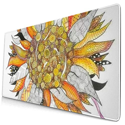 Watercolor Colored Sunflower Design Pattern XXL XL Large Gaming Mouse Pad Mat Long Extended Mousepad Desk Pad Non-Slip Rubber Mice Pads Stitched Edges (29.5x15.7x0.12 Inch)