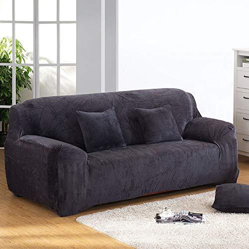 Funda de sofá elástica Gruesa de Felpa de Color sólido Funda Universal seccional Funda de sofá elástica de 1/2/3/4 plazas para Sala de Estar, Gris, 1 Plaza 90,140cm