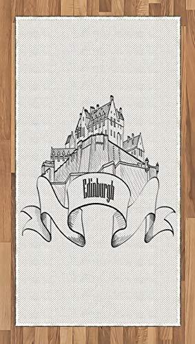 ABAKUHAUS Écosse Tapis Tissé à Plat, Tiré par la Main Dessin au Crayon, Salle de Séjour Chambre à Coucher Salle à Manger, 80 x 150 cm, Gris foncé Blanc