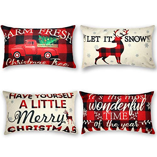 4 Paquetes Funda de Almohada de Navidad Funda de Almohada de Have Yourself A Little Merry Christmas con Cuadros Buffalo Rojo y Negro Copo de Nieve Reno Camión Fundas de Colchón, 12 x 20 Pulgada