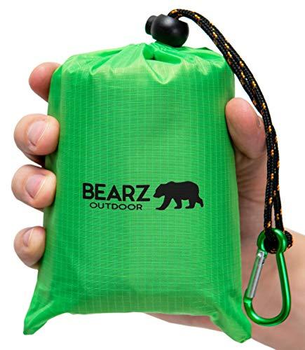 BEARZ Outdoor Beach Blanket, Waterproof Picnic Blanket 55″x60″ - Lightweight Camping Tarp,...