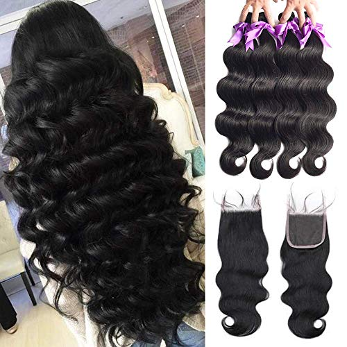 3 Bundles with Closure 24 26 26+20 Inch 44 Closure Free Part and Brazilian Body Wave Hair Bundles Virgin Hair Bundle Deals 8A Unprocessed Remy Human Hair Weaves Extensions