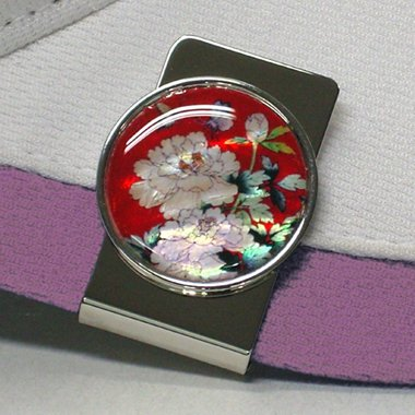 Clip Magnético con Madreperla Nácar y Marcador de Bolas de Golf para Gorra con Diseño de Peonias Rojas