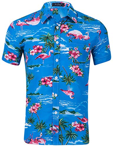 AIDEAONE Herren Hawaii Hemd Kurzarmhemd Poloshirt Dunkle Hemden Blau