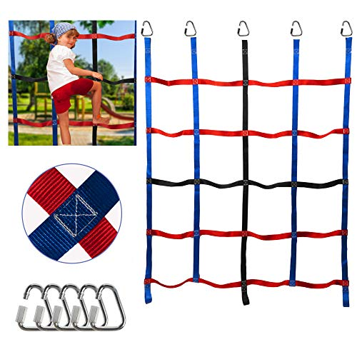 leofit Climbing Cargo Net for Kids Ninja Webbing Net Ninja Warrior Obstacle Course Training Indoor Outdoor