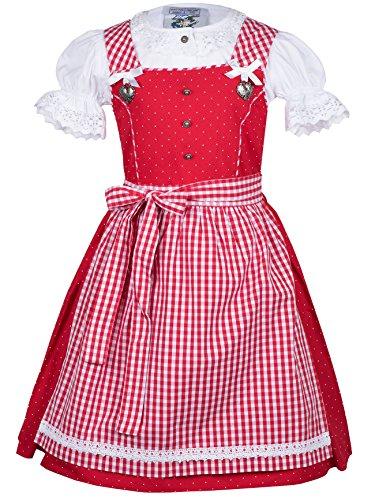 Isar-Trachten Kinderdirndl Sissi rot karo Set 3-TLG (110, rot)