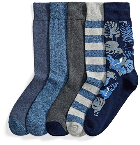Amazon Brand - Goodthreads Men's 5-Pack Patterned Socks, Assorted Blue/Grey, One Size