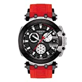 Tissot Men's T-Race Chrono Quartz Stainless Steel Swiss Silicone Strap, Red, 22 Casual Watch (Model: T1154172705100)