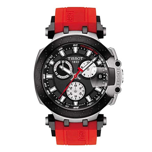 Tissot Men's T-Race Chrono Quartz 316L Stainless Steel Case with Black PVD Coating Swiss Silicone Strap, Red, 22 Casual Watch (Model: T1154172705100)