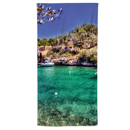 fotobar!style Handtuch 50 x 100 cm Mallorca Impressionen Hafen von Cala Figuera