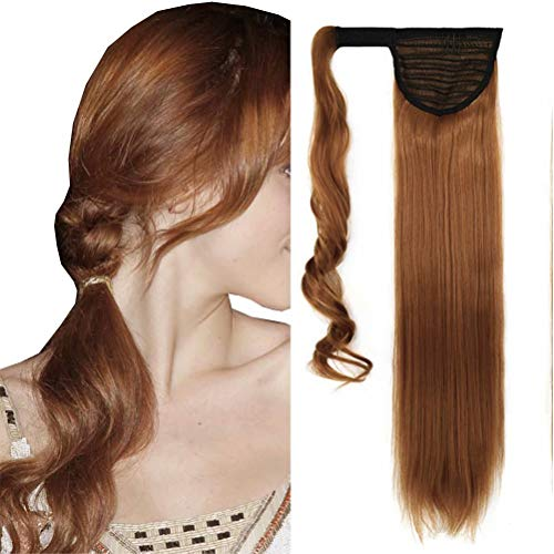 """iLUU Wrap Around Ponytail Hair Extension 100g One Piece Magic Paste Hairpiece 24"""" Synthetic Straight Pony Tail Hair Pieces Chestnut Auburn Color Ponytail Extensions #30J"""
