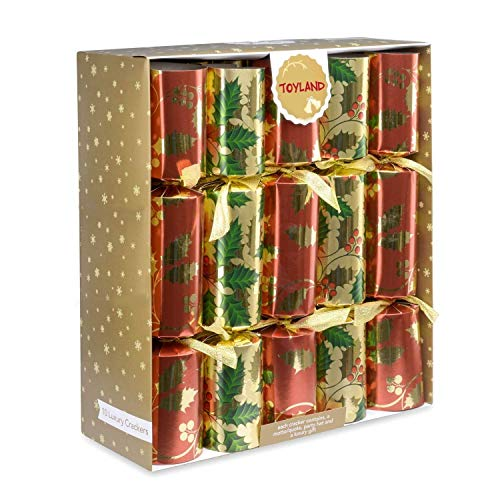 Toyland Pack of 10-36cm Luxury Red, Green & Gold Foil Christmas Party Favours with Holly Design - Tree Decorations