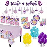 """""""Barbie Mermaid"""" Birthday Party Supplies Pack for 16: Plates, Napkins, Cups, Table Cover, Banner, Paper Kraft Bag and Balloons. AMSCAN"""