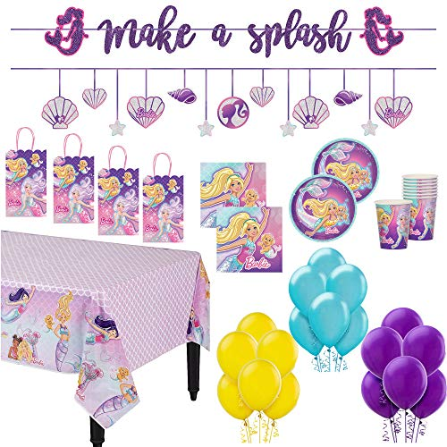 """Barbie Mermaid"" Birthday Party Supplies Pack for 16: Plates, Napkins, Cups, Table Cover, Banner, Paper Kraft Bag and Balloons. AMSCAN"