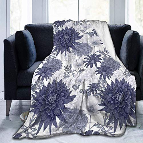 Franela cálida y ligera antipilling para todas las estaciones, pintura digital punteada de Dahlia Botanical curvada con diseño de rayas salvajes, mantas para sofá cama