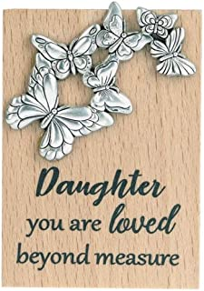 Ganz ER62374 Daughter You are Loved Beyond Measure Magnet Plaque, 2-inch Height, Brown and Silver