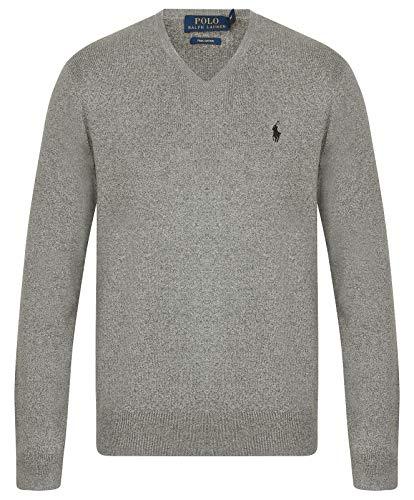 Ralph Lauren Pima Pullover mit V-Ausschnitt aus Baumwolle, Größe M, Grau meliert