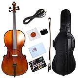 Yinfente Violonchelo acústico eléctrico 4/4 macizo, madera de abeto y ébano, con lazo para bolsa de violonchelo (marrón)