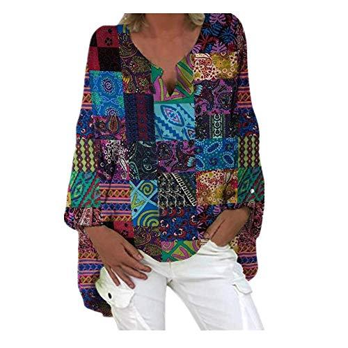 N\P Blusa suelta de manga larga con cuello en V y estampado bohemio para mujer