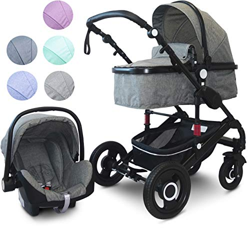 """VCM Kombi - Kinderwagen, Babywagen 2in1 oder 3in1""""VCK Kidax"""" 3in1 - mit Babyschale: Anthrazit"""